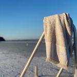 70x140 beige badehåndklæder med frynser