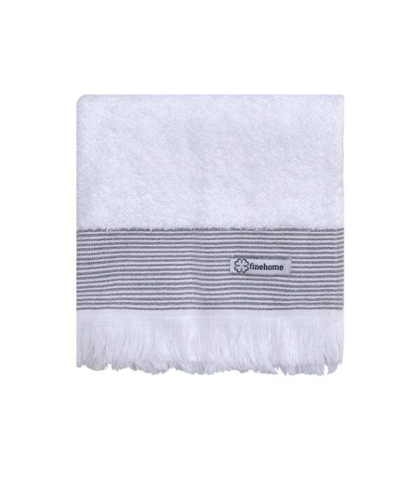 Luksus håndklæde med frynser i hvid Cenon Design fra finehome