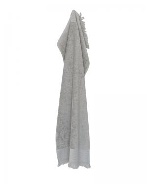 Håndklæde 50x100. Grå håndklæder med frynser