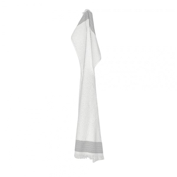 Håndklæde med frynser i hvid 50x100