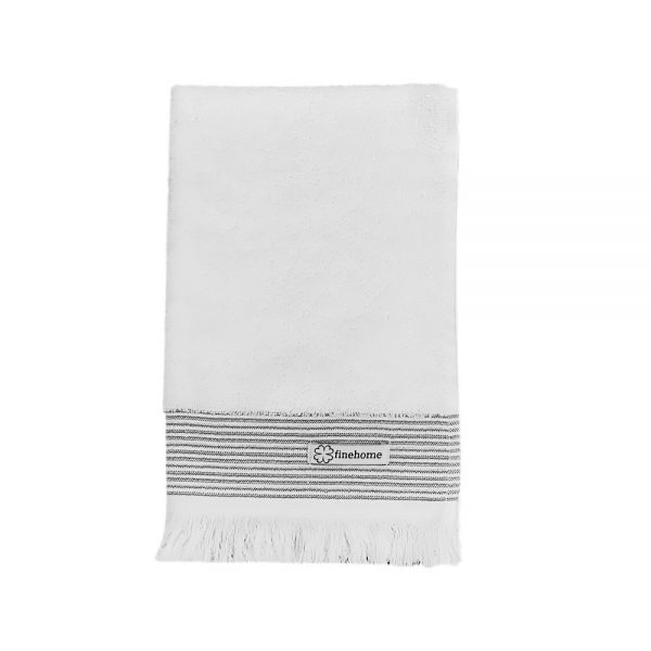 hvid gæstehåndklæde 40x60 cm med frynser finehome