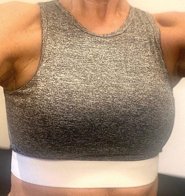 Gym Fitness Yoga top i graa og hvid