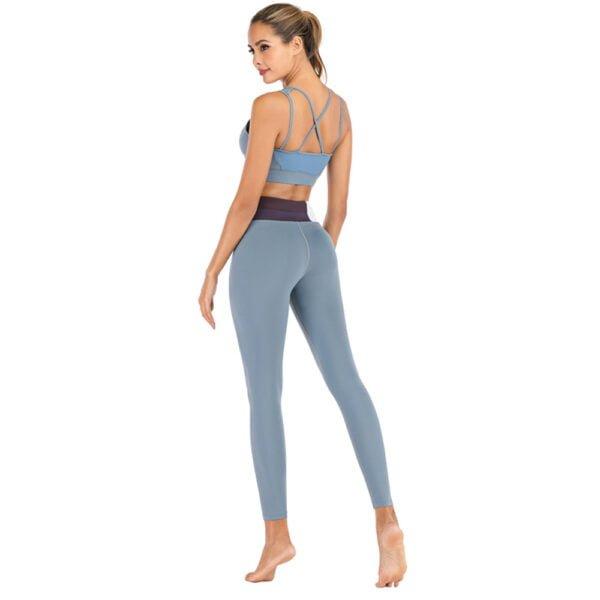 Yoga Leggings - petrol blue traeningstights fra finehome