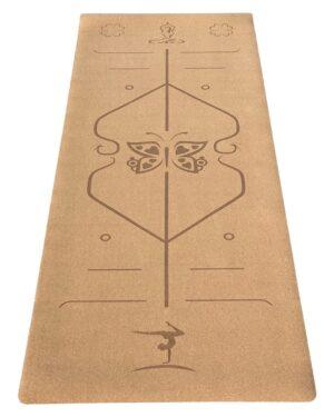 4,5mm kork yogamaatte med positionslinjer fra finehome