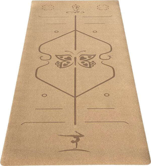 kork yogamaatte med positionslinjer