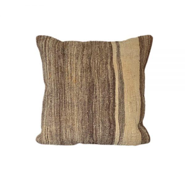 Kelim pude 107 42x42 cm fra finehome med brune og beige striber