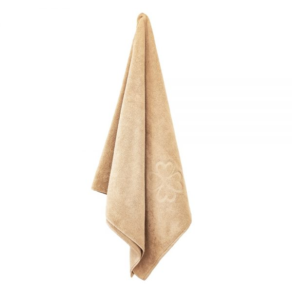 Økologisk badehåndklæde i varm sand yellow farve fra finehome