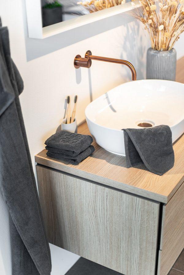 50x100 grå håndklæde Alba Design Organic Hearts fra finehome