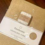 Sandfarvet økologisk badehåndklæde 70x140 cm fra finehome Organic Hearts