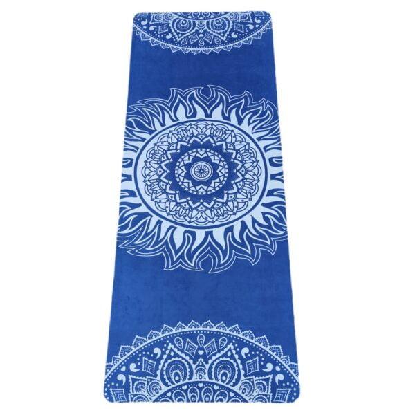 Blaa og hvid ruskind yogamaatte 4mm fra finehome