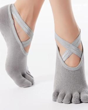 Tåsokker til Yoga & Pilates - Yogastrømper i grå fra finehome