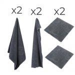 Økologisk håndklædepakke fra finehome i mørk grå