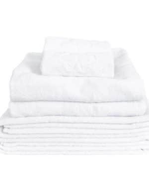 Hvid håndklædepakke med 6 økologiske håndklæder i høj kvalitet