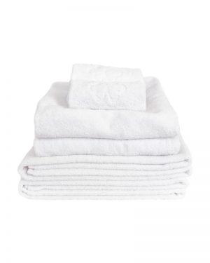 økologisk håndklædesæt hvid med 6 lækre håndklæder med logo