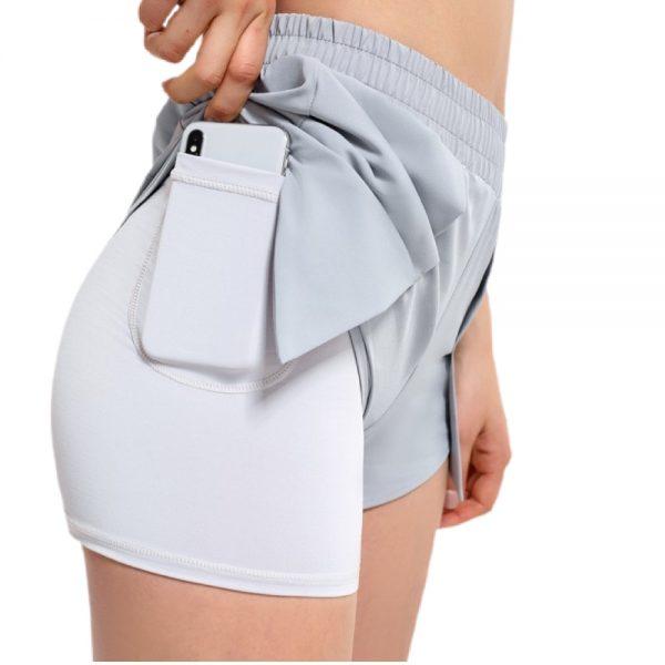 grå shorts 2-i-1 med lomme til dame