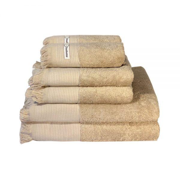 tilbud flotte håndklæder i beige fra finehome