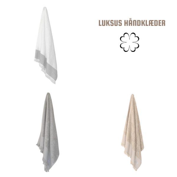 Luksus håndklæder 6 stk. i hvid, grå eller beige